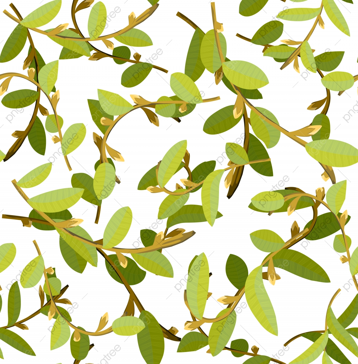 Natural Hand Drawing Of Beautiful Branches With Dry And Green Leaves Repeat Pattern Design Green Leaf Plant Png And Vector With Transparent Background For Free Download