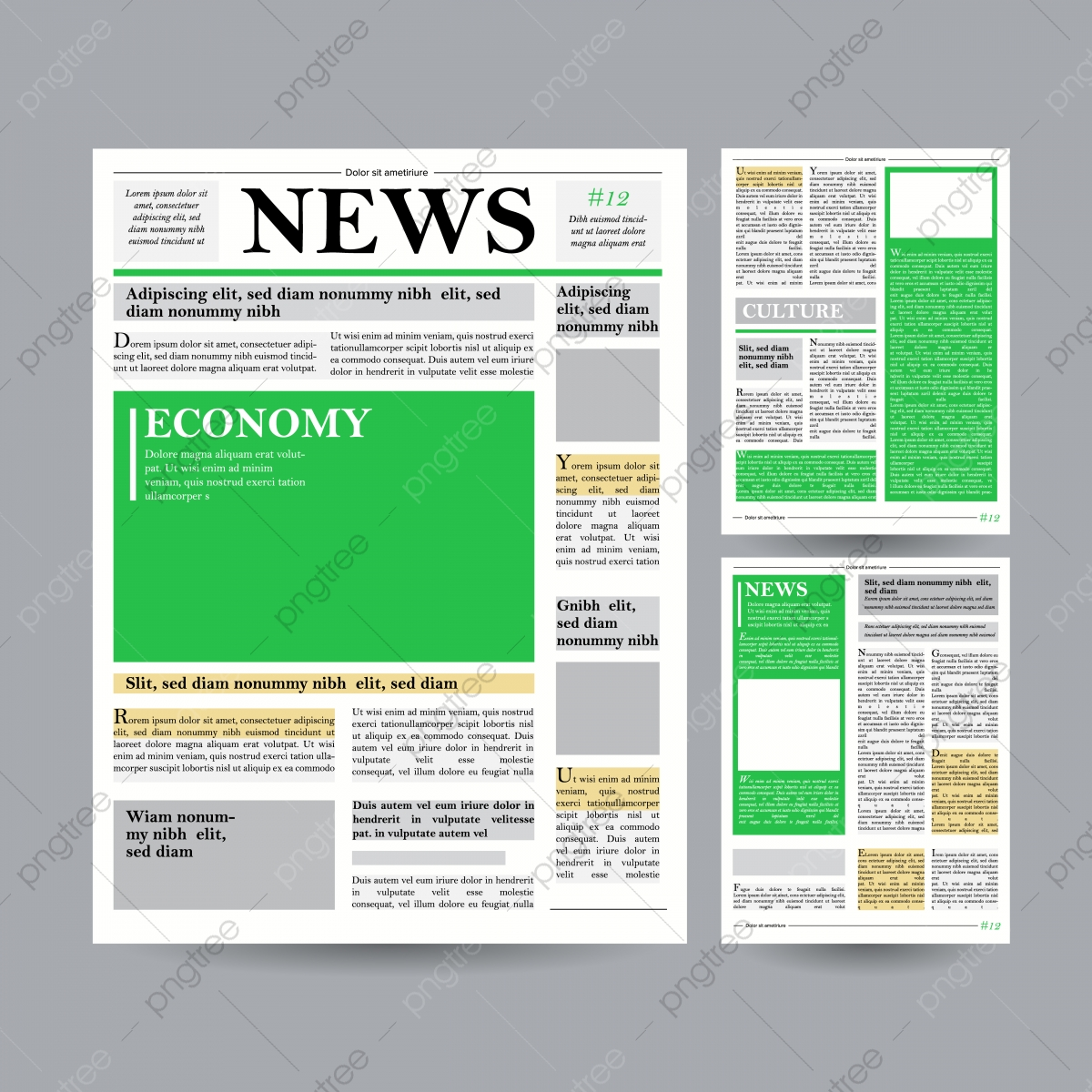 Newspaper Design Template Vector Financial Articles Advertising Business Information World News Economy Headlines Blank Spaces For Images Isolated Illustration Newspaper Mockup Design Png And Vector With Transparent Background For Free Download