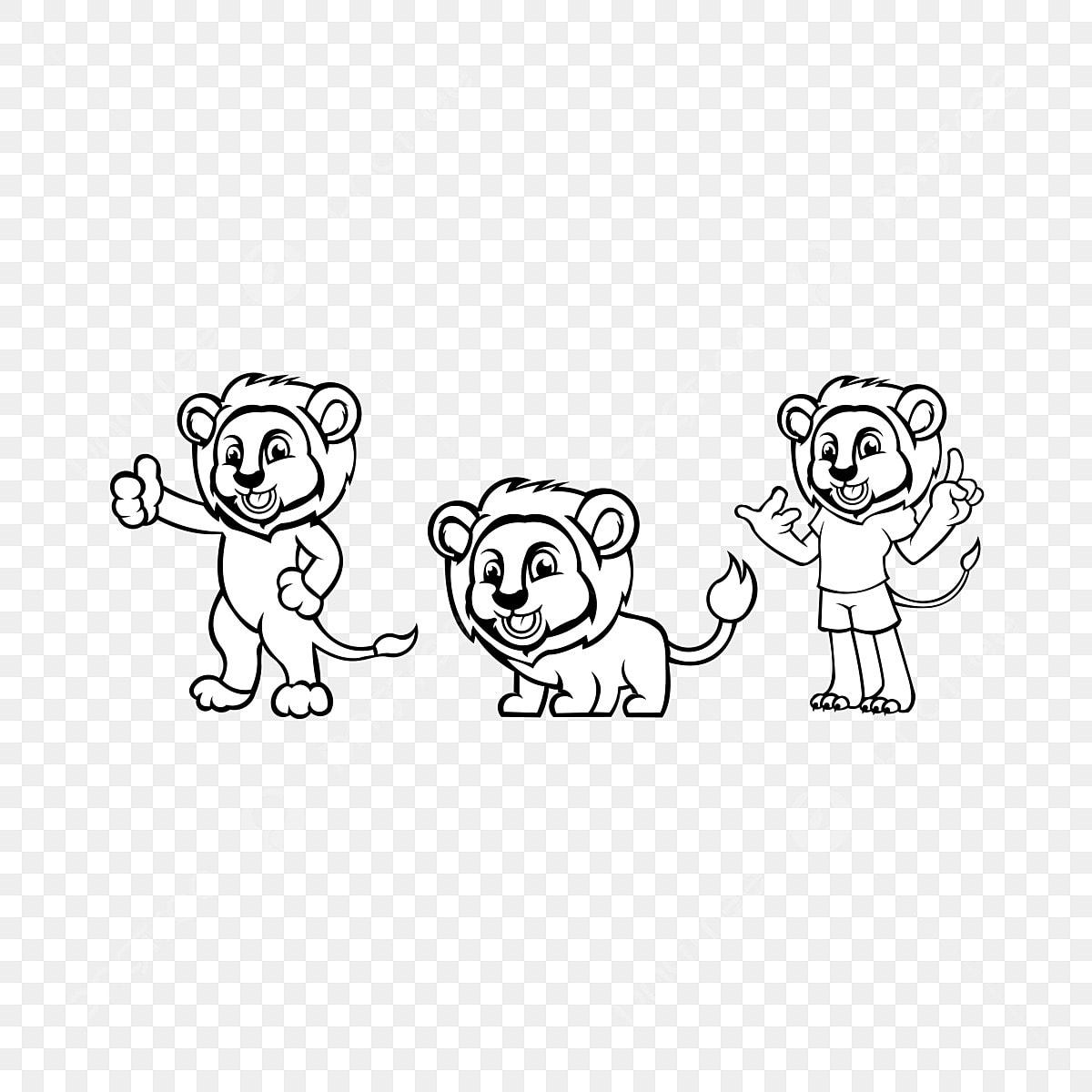 Set Singa Untuk Buku Mewarna Kartun Gembira Singa Terpencil