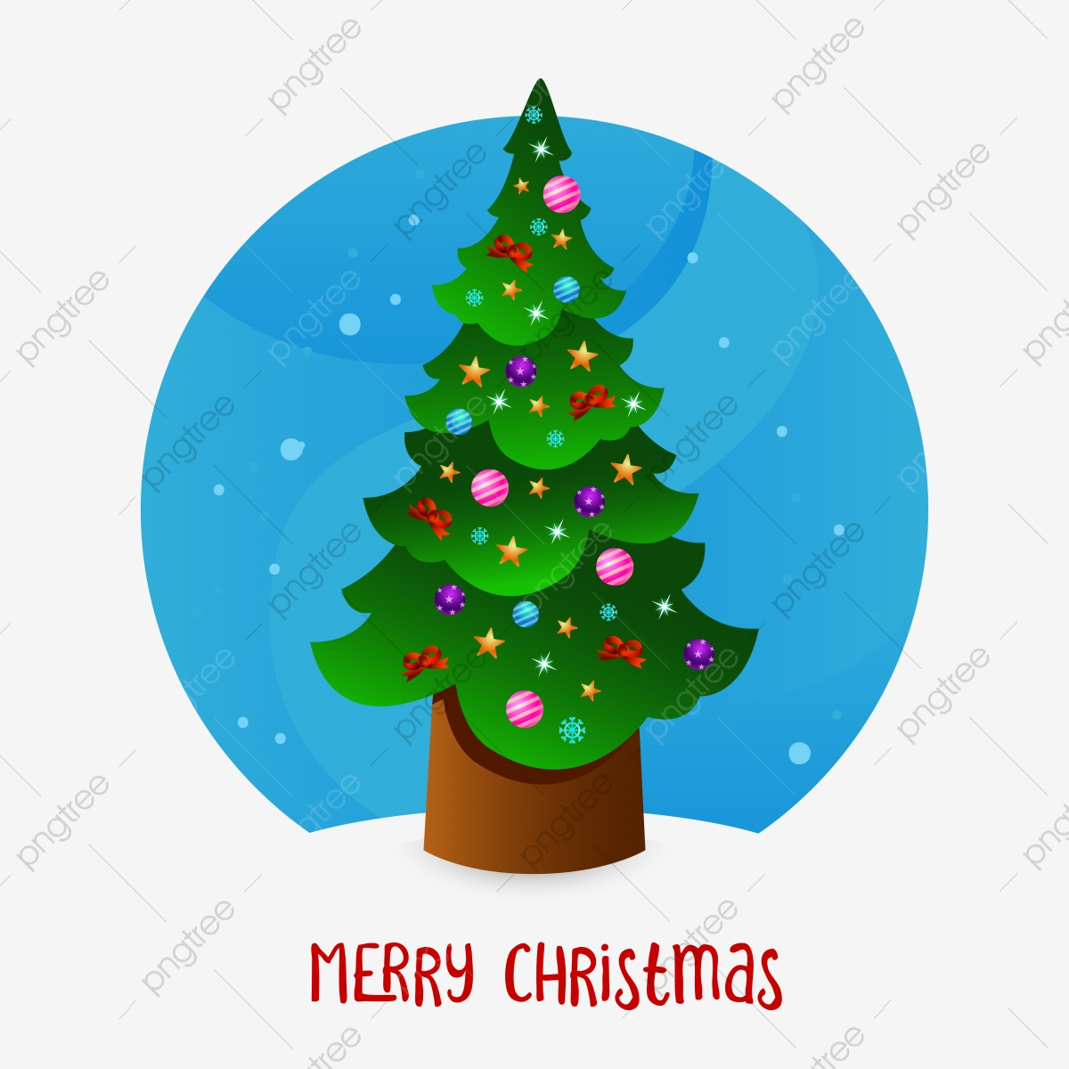 Simple Christmas Tree Vector Element With Blue Circle Background Christmas Vector Christmas Decoration Christmas Ornaments Png And Vector With Transparent Background For Free Download