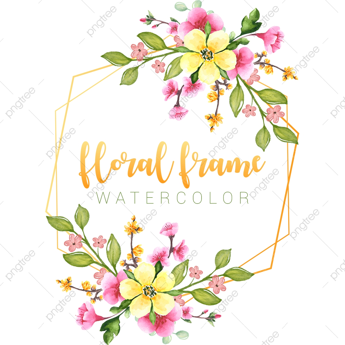 Spring Flowers Floral Frame Vector Watercolor Illustration Best Bloom Transparent Png And Vector With Transparent Background For Free Download