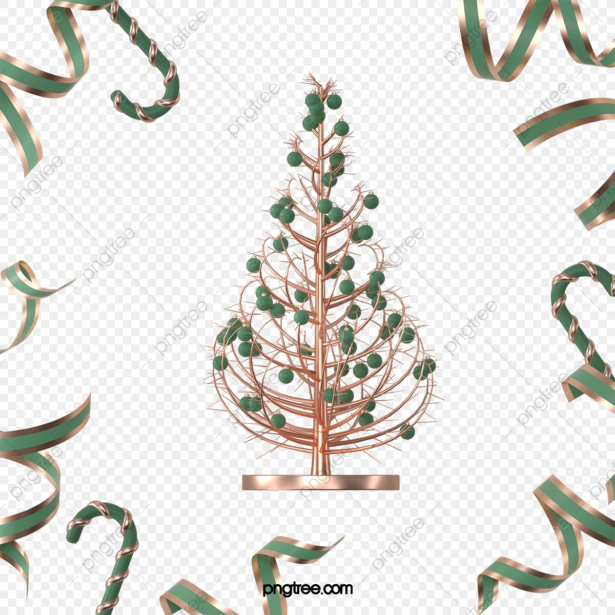 Three Dimensional Green Rose Gold Texture Three Dimensional Christmas Tree Shape Elements Stereoscopic Christmas Tree Christmas Png Transparent Clipart Image And Psd File For Free Download