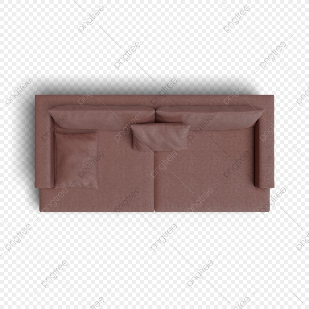 Top View Of Sofa Red Leather Render