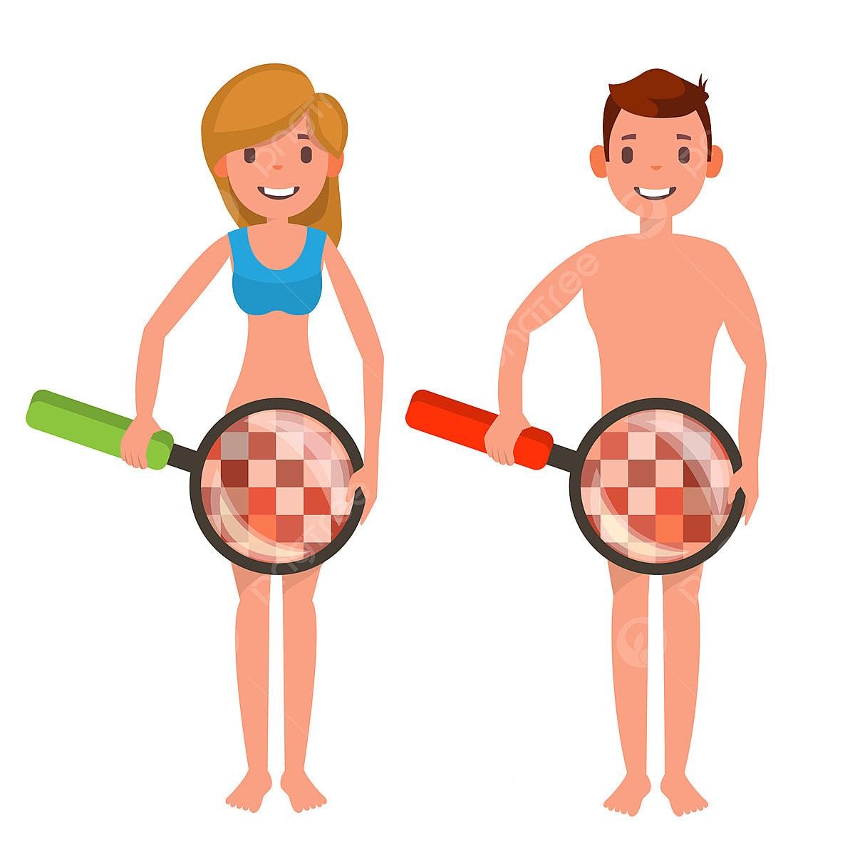 Venereal Disease Check Vector Naked Man And Woman Dengan