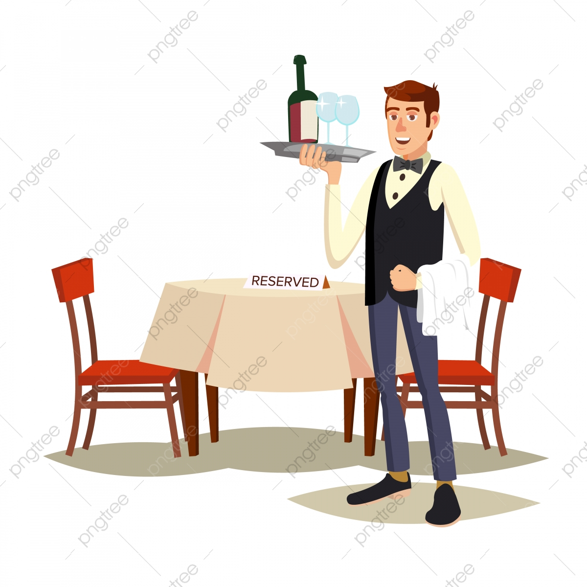 Waiter In Cafe Vector Professional Waiter Dinner Date Food Drink Concept Isolated On White Cartoon Character Illustration Restaurant Waiter Table Png And Vector With Transparent Background For Free Download