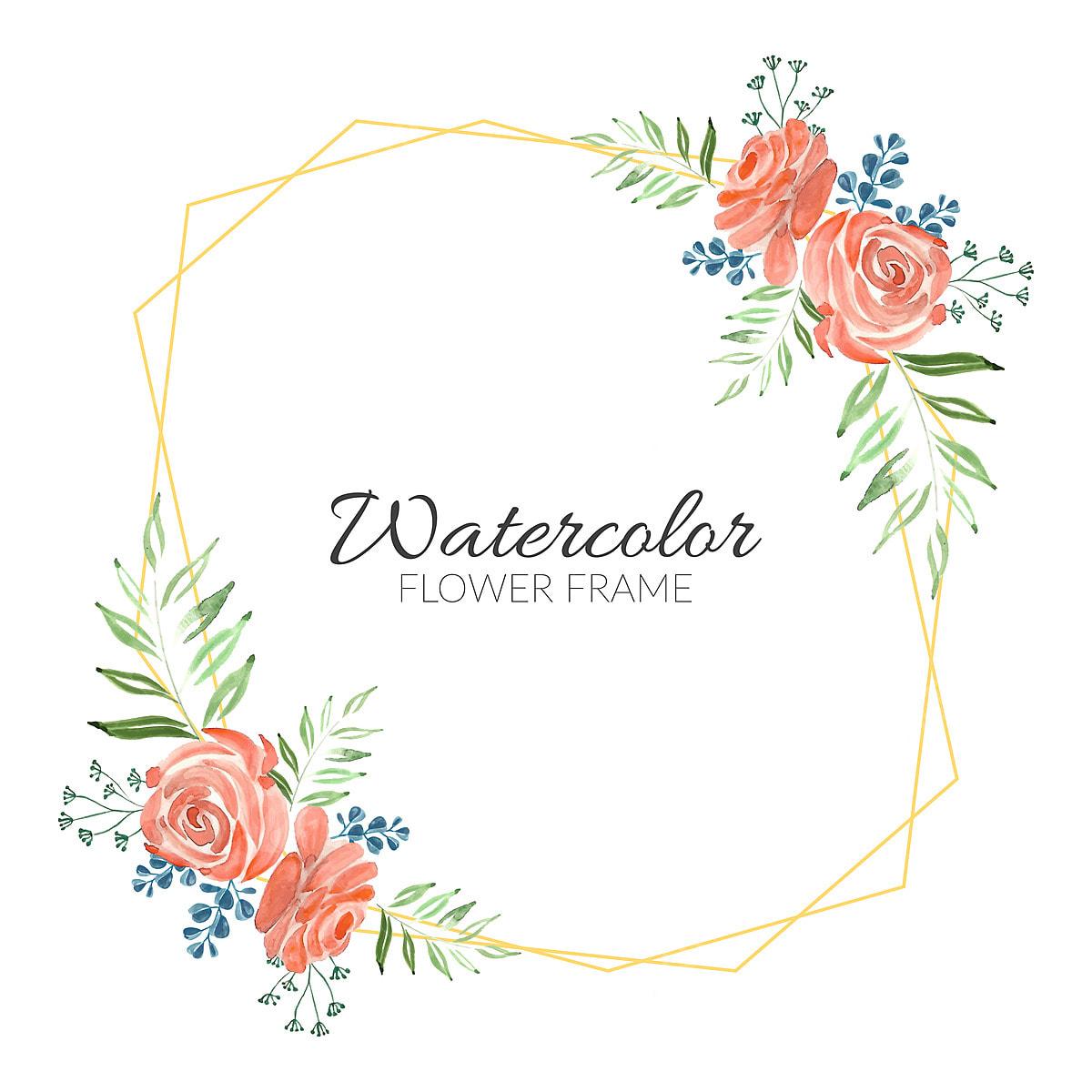Watercolor Rustic Rose Bouquet Floral Frame Design Floral Rose