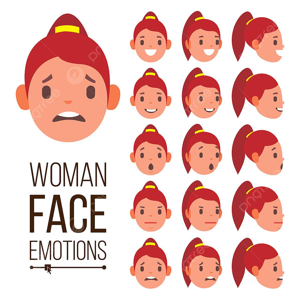 Emosi Wanita Vektor Wajah Tampan Wanita Lucu Kegembiraan