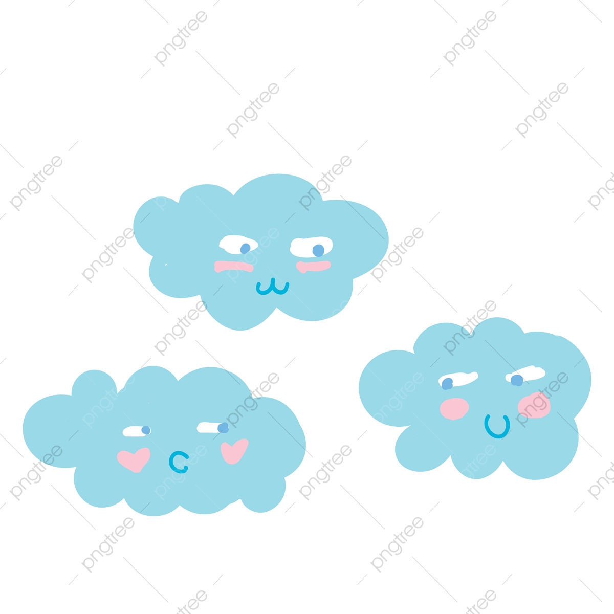 A Cartoon Of Three Clouds Vector Or Color Illustration Expression