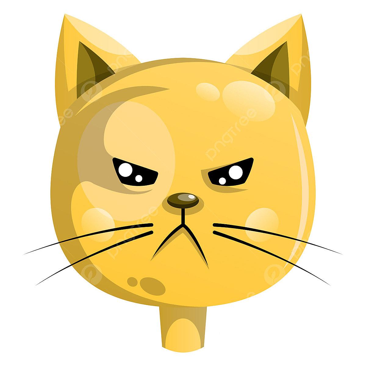 Ilustracao Em Vetor Gato Bravo Amarelo Sobre Fundo Branco Animal
