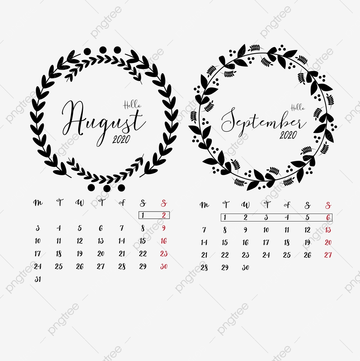 August And September 2020 Calendar Clipart Vector Png Element Floral Wreathes Wreathes Journal 2020 Calendar Png And Vector With Transparent Background For Free Download
