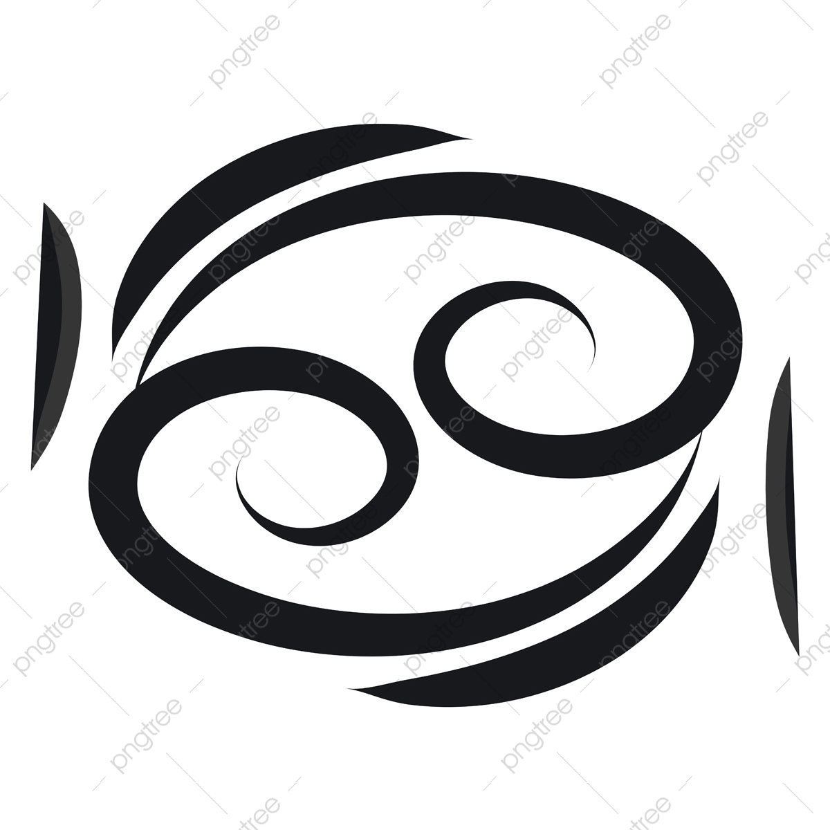 Basic Black Cancer Horoscope Sign Tattoo Vector Illustration On Zodiac Cancer Sign Png And Vector With Transparent Background For Free Download