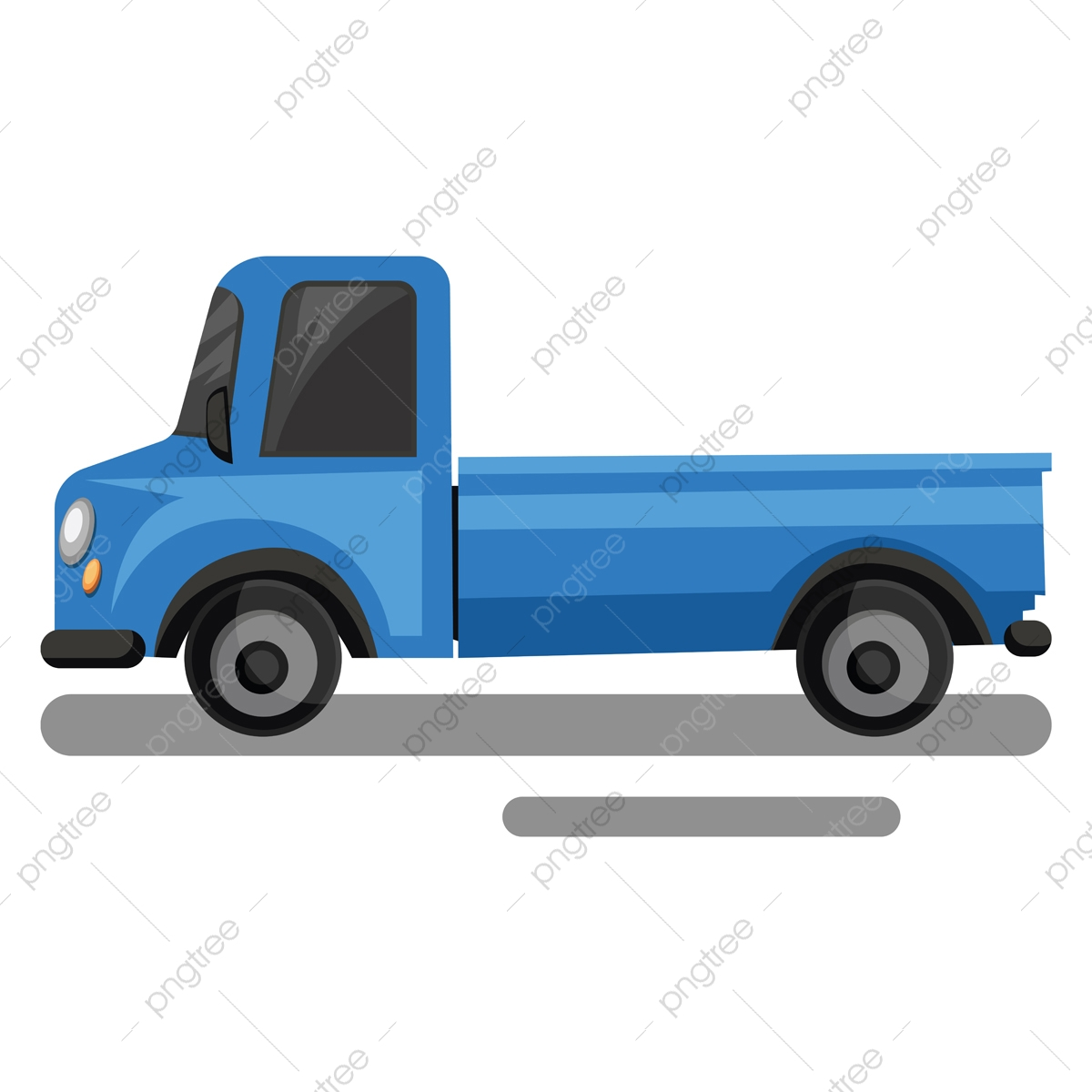Blue Truck Cartoon Style Vector Illustration On White Background Logistic Trailer Lorry Png And Vector With Transparent Background For Free Download
