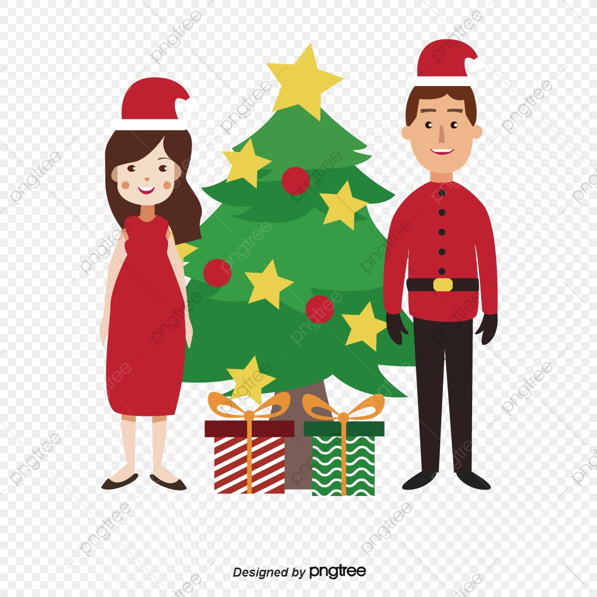 Cartoon Cute Hand Drawn Christmas Family Cartoon Lovely Christmas Png And Vector With Transparent Background For Free Download