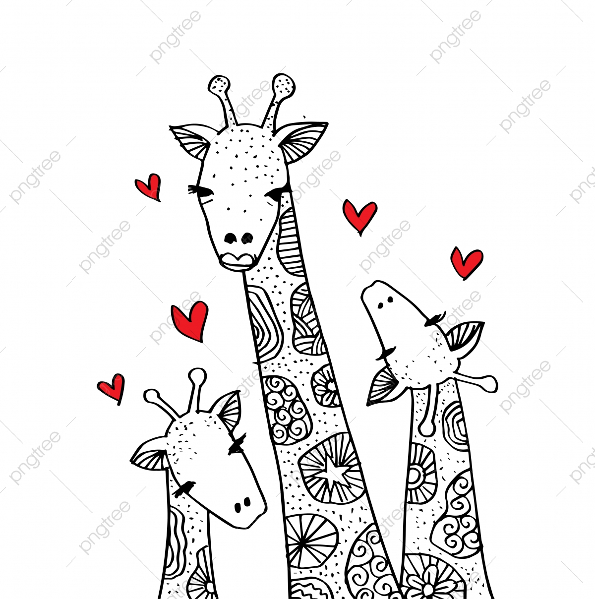 Cartoon Giraffe Mom And Baby Cute Adorable Africa African Png And Vector With Transparent Background For Free Download