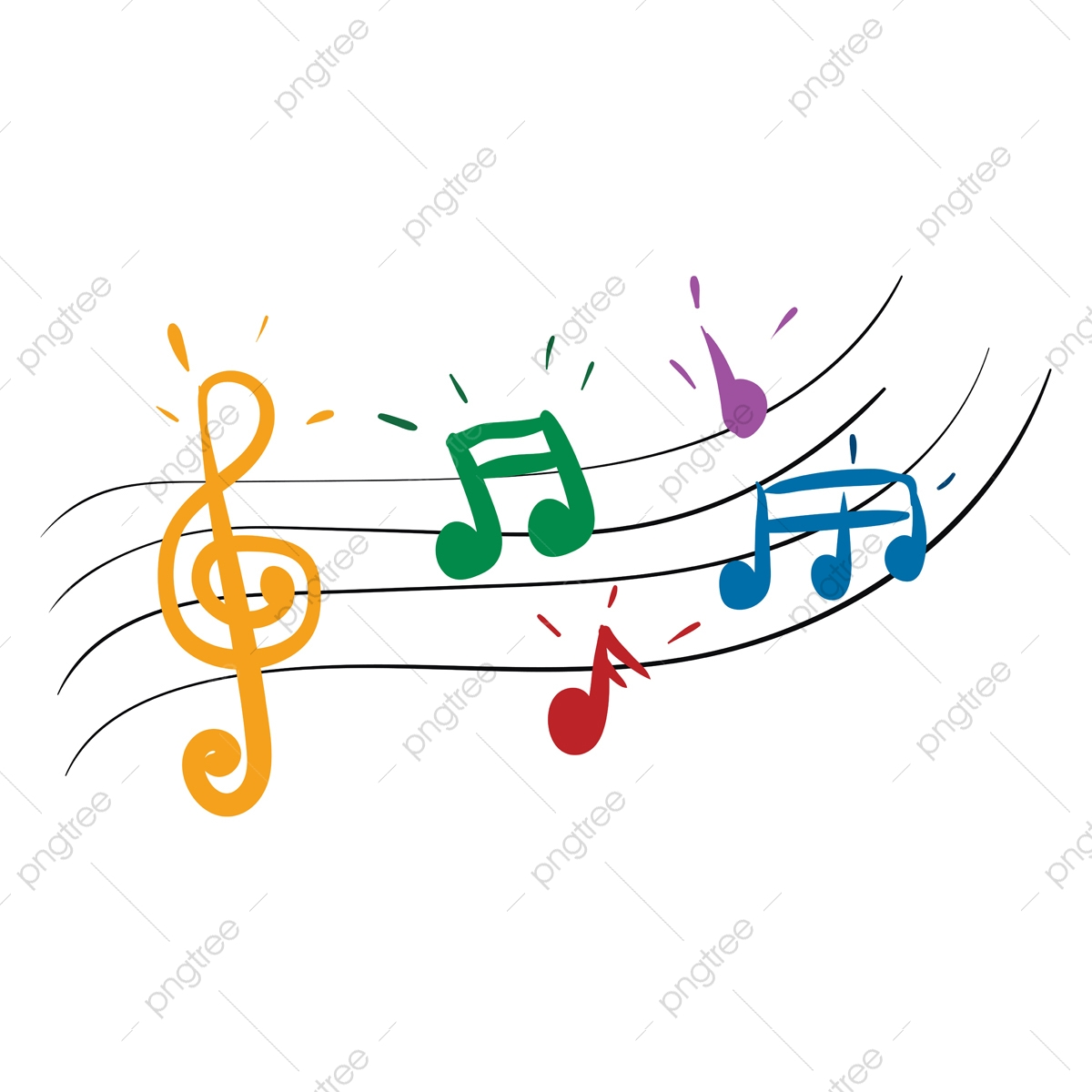 colorful music notes clipart transparent - colorful music notes symbols PNG  image with transparent background | TOPpng