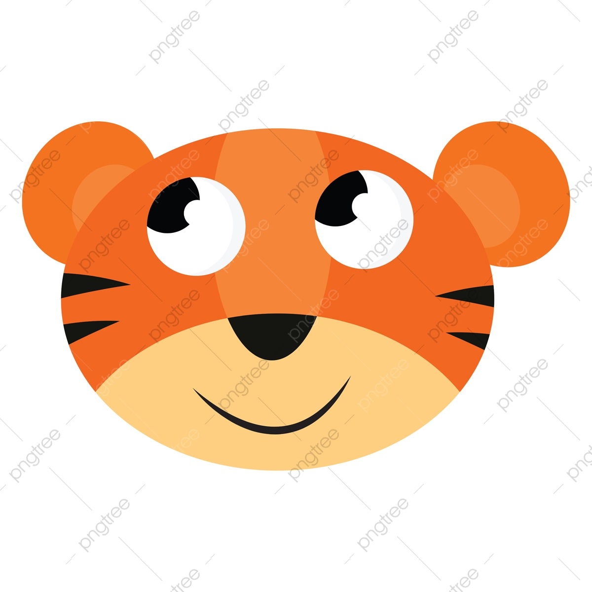 Gambar Kartun Wajah Vektor Harimau Atau Warna Yang Tersenyum