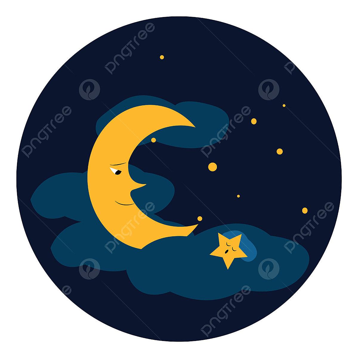 Clipart D Un Ciel Bleu Avec Des Etoiles Scintillantes Et Vecto De La Lune Lune Rever Lumiere Png Et Vecteur Pour Telechargement Gratuit
