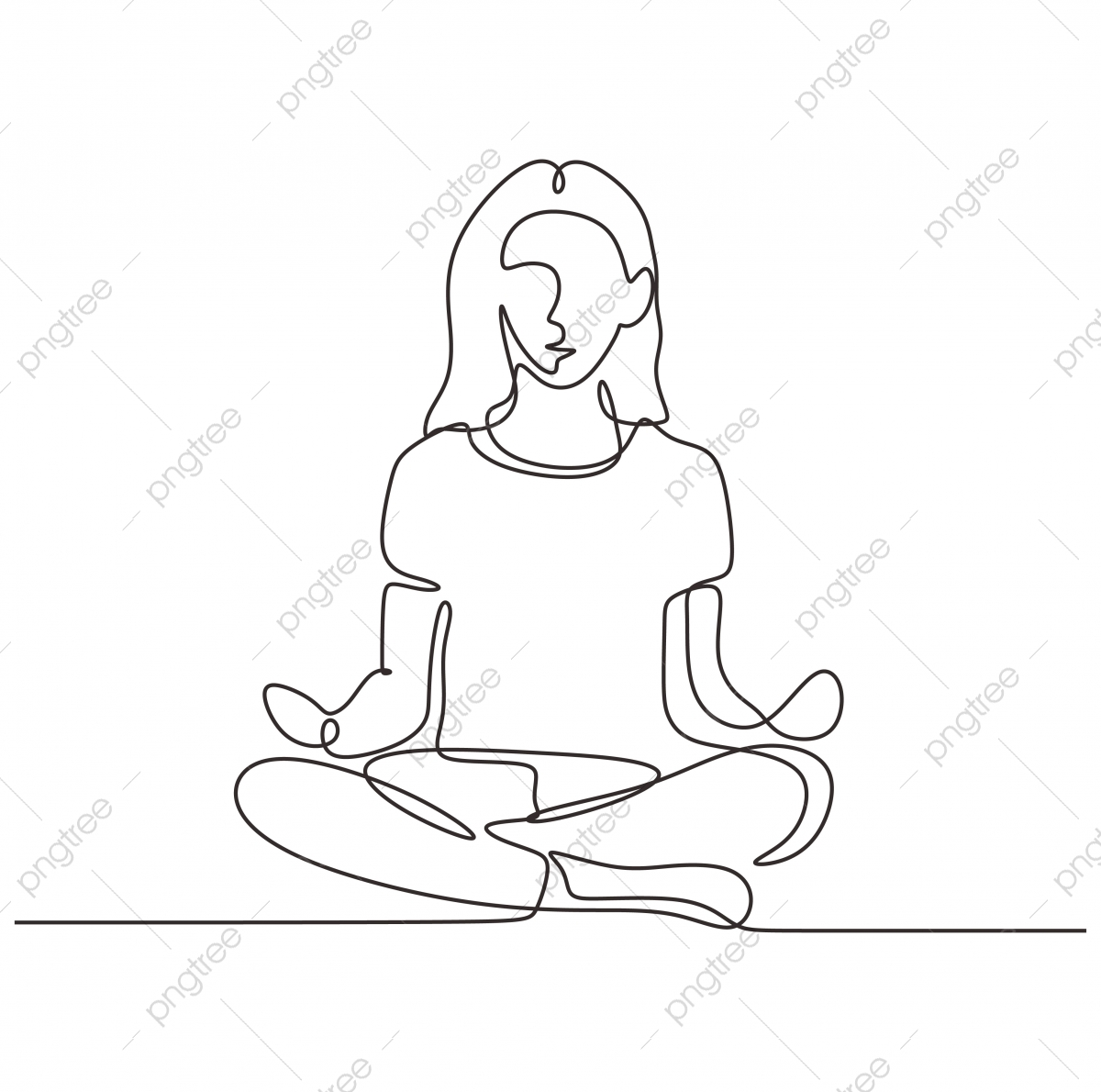 Continuous One Line Drawing Of Girl Doing Yoga Sitting In Lotus Woman Relaxation And Meditation For Healthy Body And Positive Mind Vector Illustration Minimalism Sport Theme Design Vector Yoga Isolated Png And