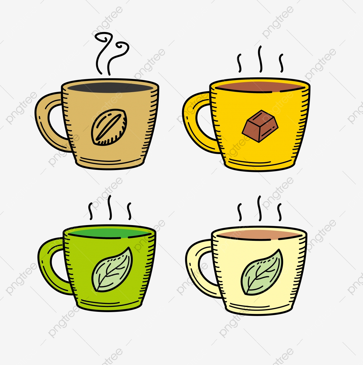 cup of coffee and tea vector illustration with colored hand drawn style tea coffee drink png and vector with transparent background for free download https pngtree com freepng cup of coffee and tea vector illustration with colored hand drawn style 5295343 html