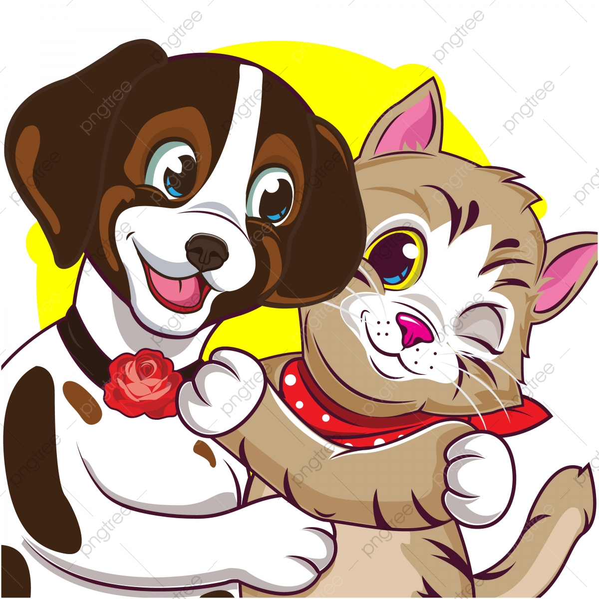 Cute Cartoon Dogs And Cute Cats Animal Web Icon Png And Vector