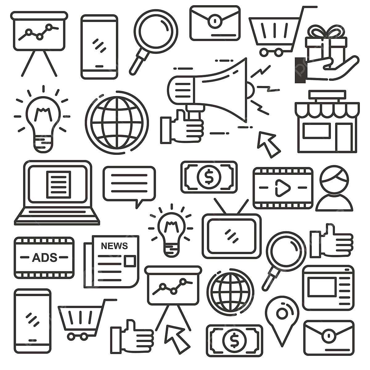 Digital Marketing Doodle Vector Illustration Suitable For ...