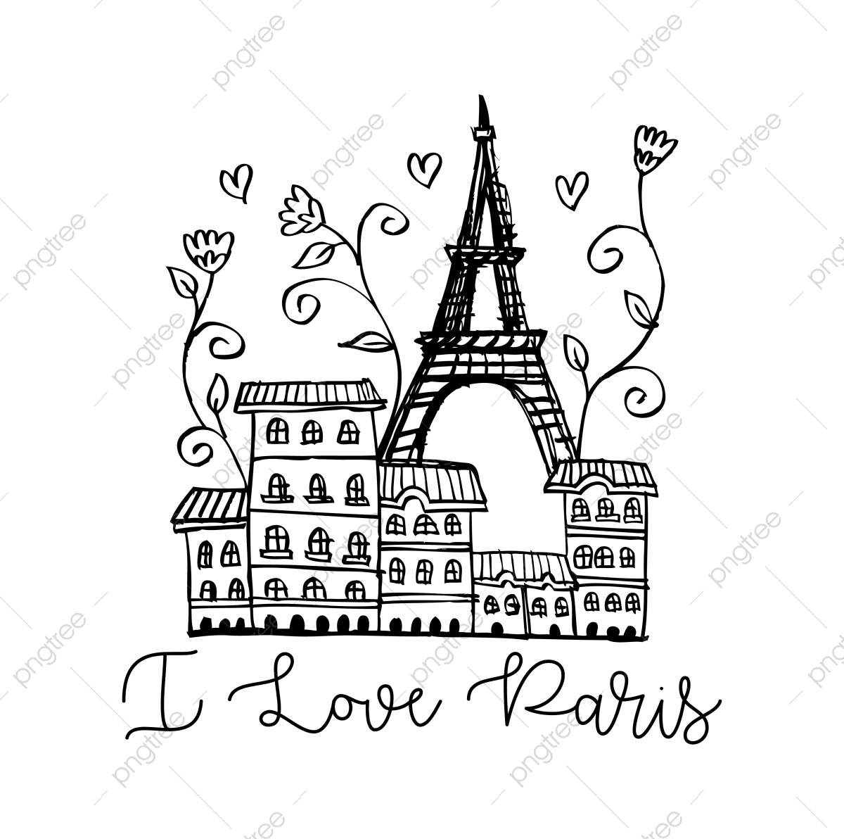 Drawing The Silhouette Of The City Of Paris Vector Europe French Png And Vector With Transparent Background For Free Download
