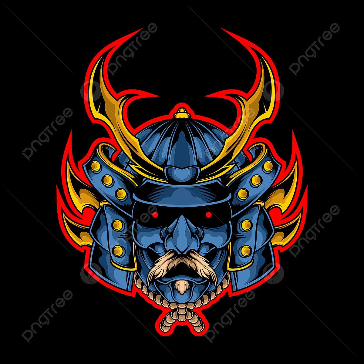 Ilustracao De Cabeca De Samurai Epico Armadura Arte Asian Png E