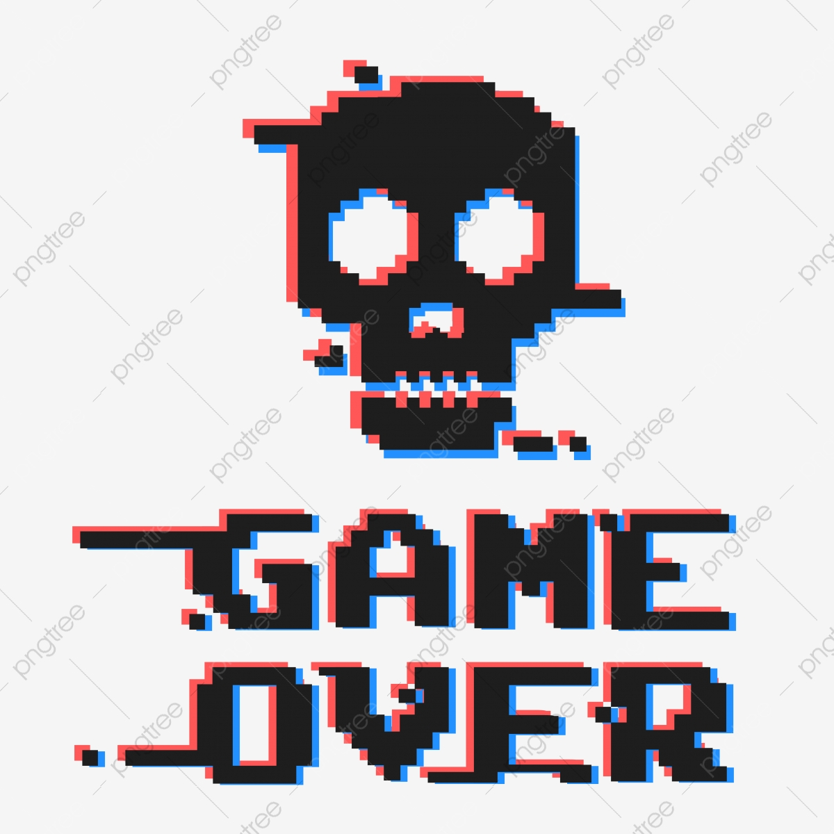Game Over Pixel And Skull Cartoon Play Concept Png And Vector With Transparent Background For Free Download
