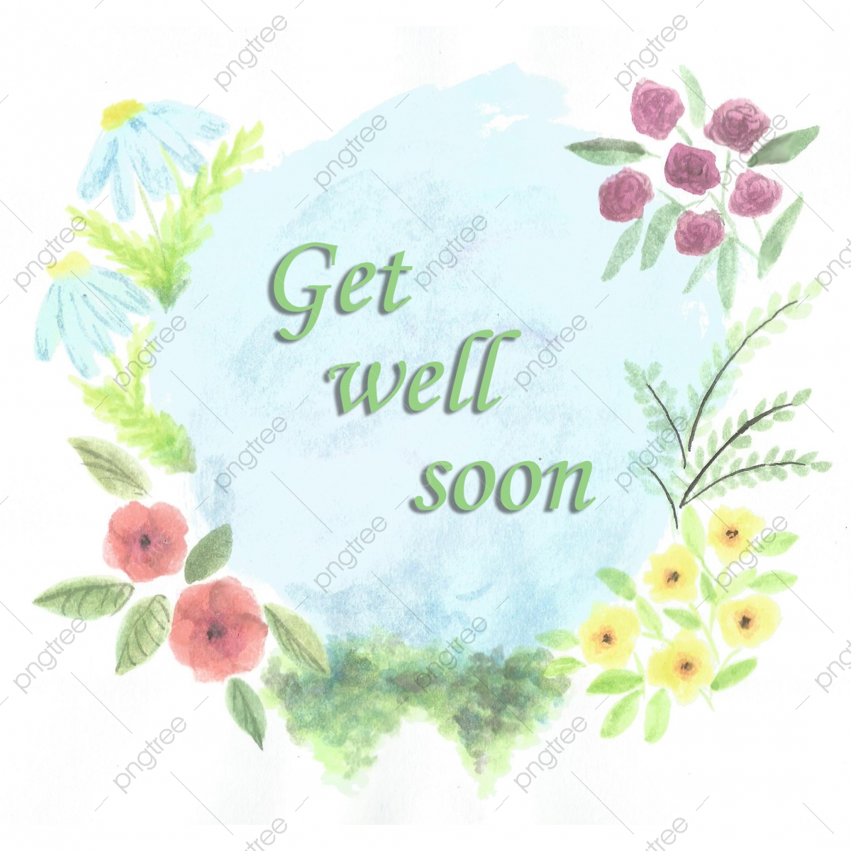 Get Well Soon Card With Flowers Get Well Soon Card Flowers Png Transparent Clipart Image And Psd File For Free Download