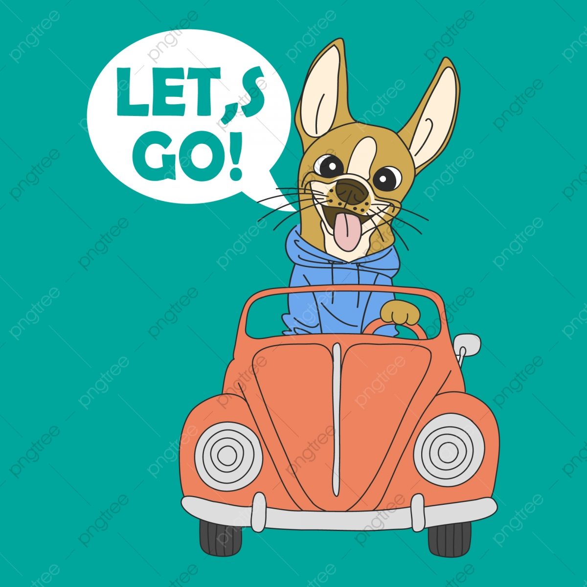 Hand Drawn Cute Dog Driving A Car For T Shirt Printing Dog Car Racing Png And Vector With Transparent Background For Free Download
