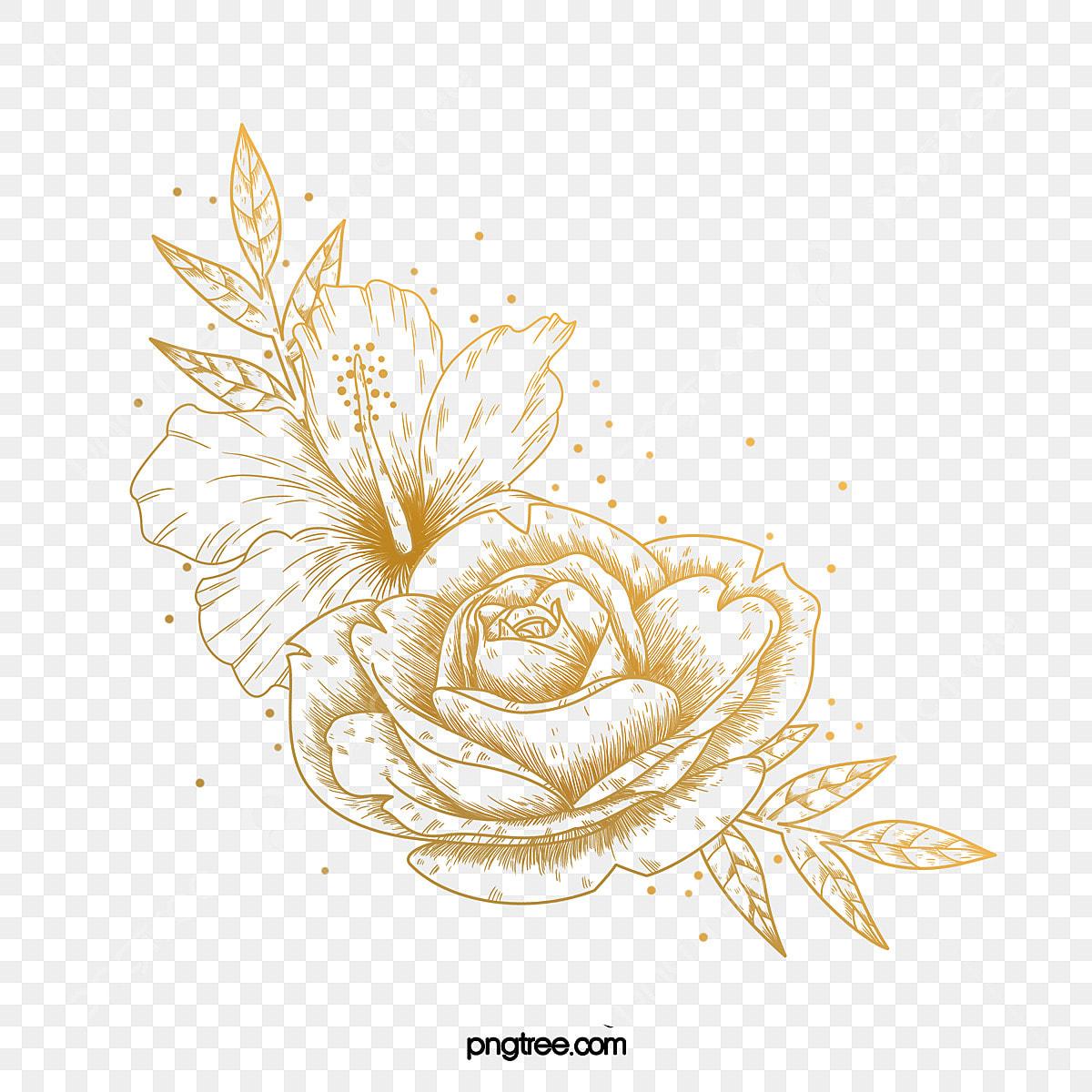 زهرة الخط الذهبي مرسومة باليد الزهور والنباتات ذهبي خط Png وملف Psd للتحميل مجانا