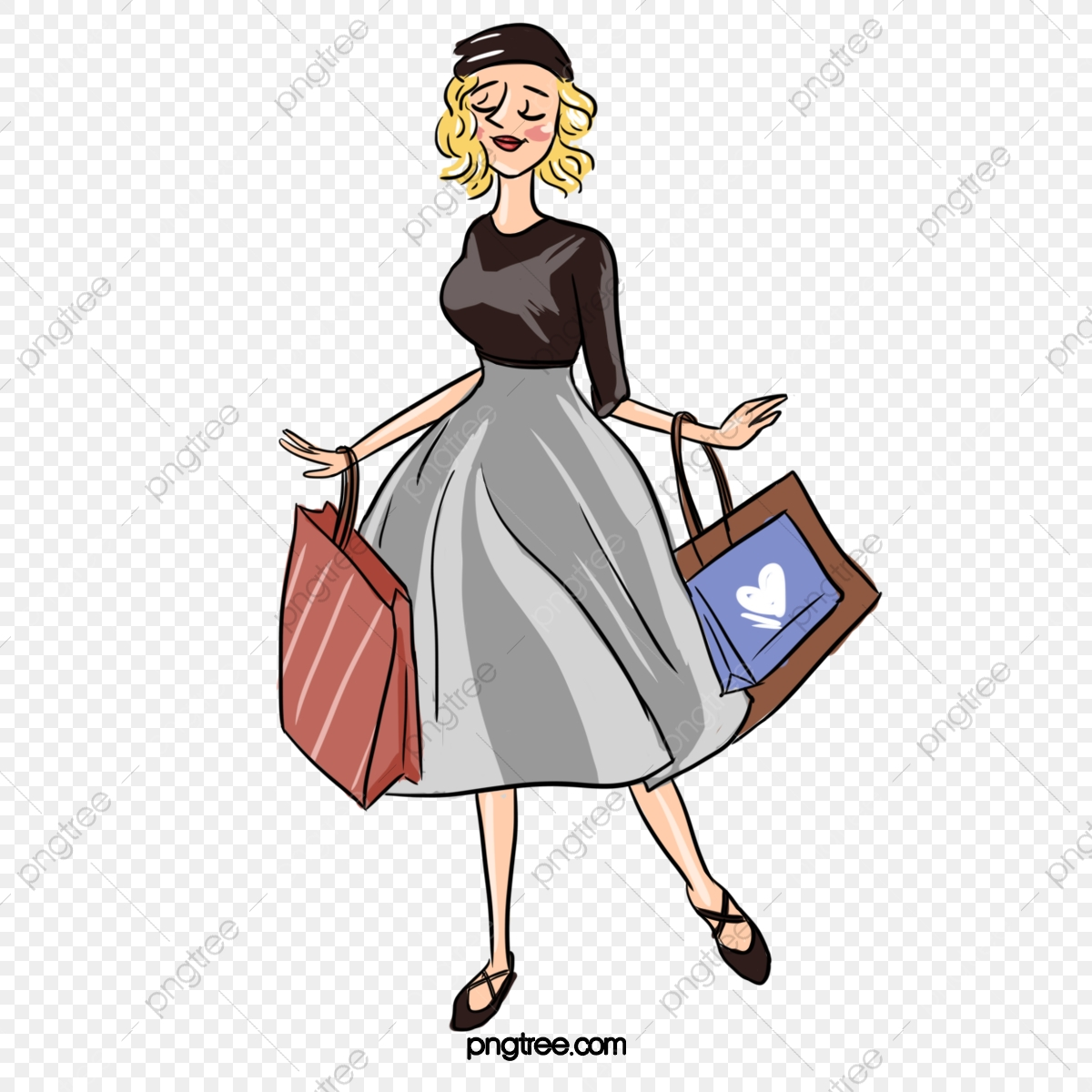 Hand Drawn Line Drawing Style Meets European And American Woman Shopping Elements Shopping Festival Purchase Shopping Png Transparent Clipart Image And Psd File For Free Download