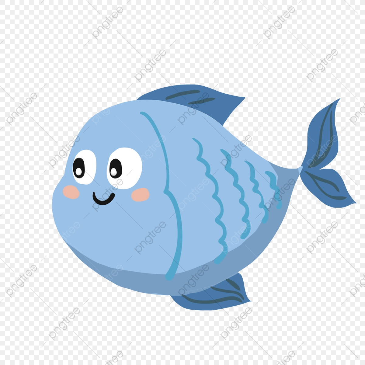 Hand Painted Cartoon Blue Fish Fish Blue Fish Cartoon Fish Png Transparent Clipart Image And Psd File For Free Download