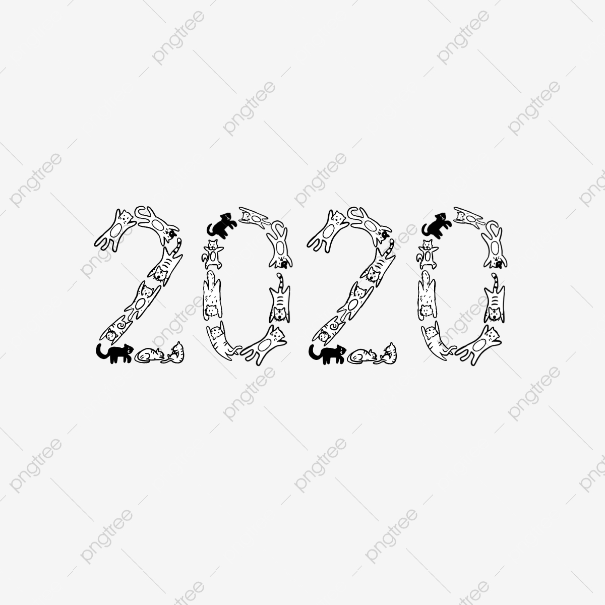 Download New Year Clipart Black And White 2020