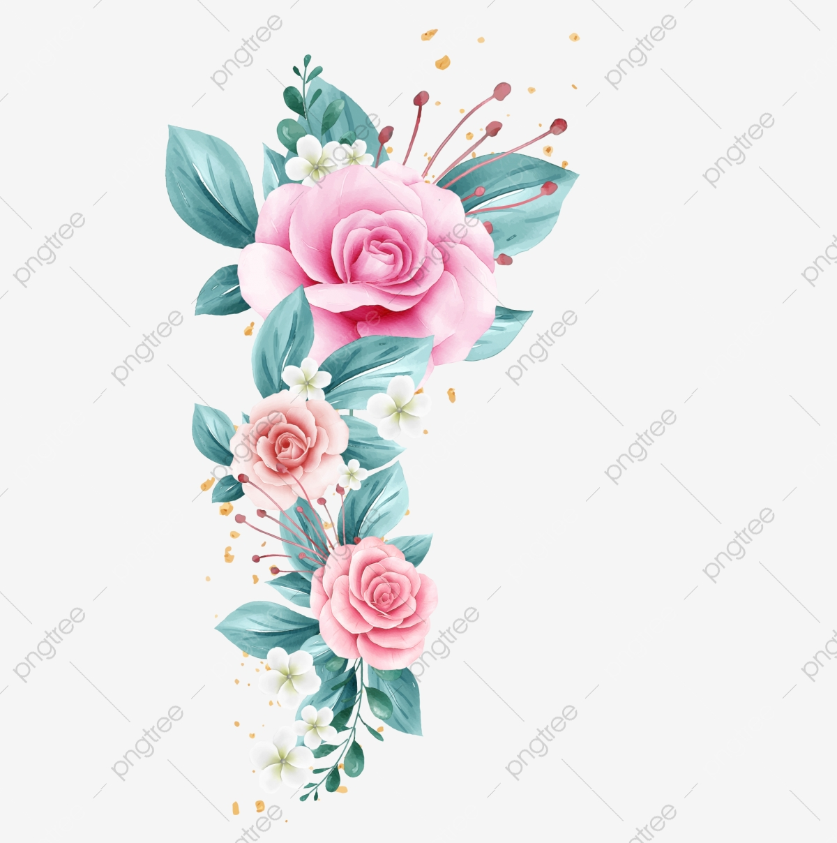horizontal watercolor flowers decoration for card design