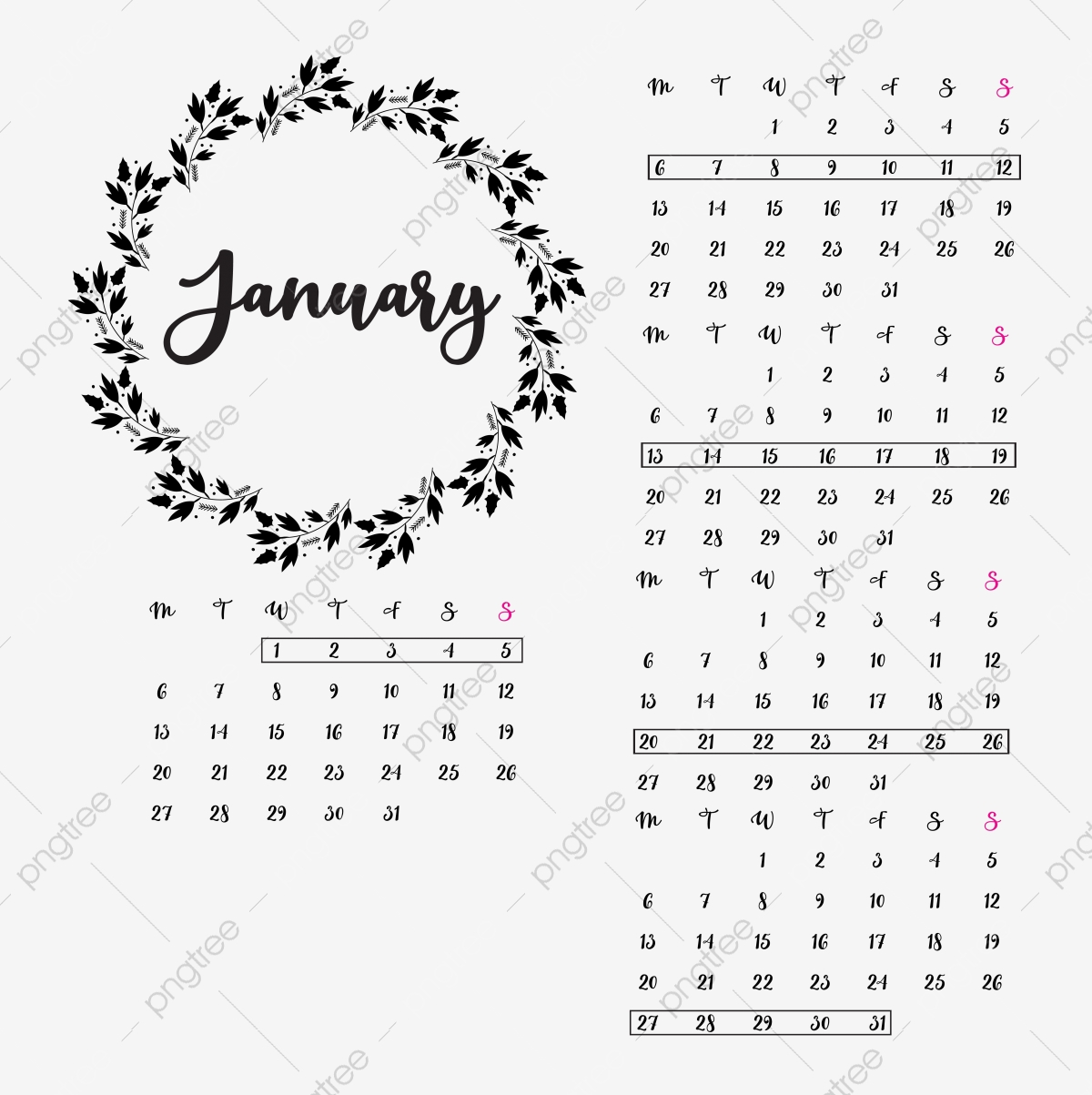 Colorful Planner Calendar January 2019 Separately Vector Illustration  Royalty Free Cliparts, Vectors, And Stock Illustration. Image 97613208.