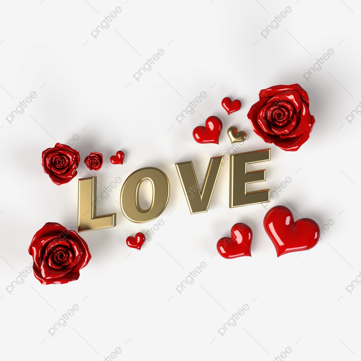 Love Text With Red Hearts And Roses Isolated On Transparent Background 3d Visualization Celebrate Er Gift Png Transparent Clipart Image And Psd File For Free Download