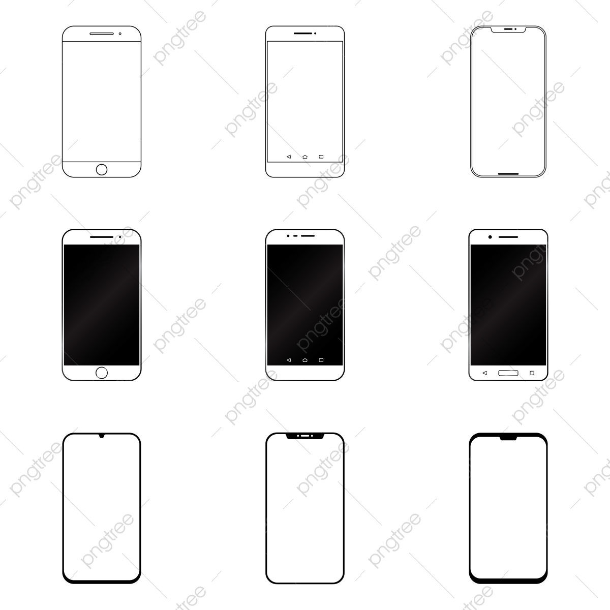 Mobile Phone Icon Set With White Background Mobile Phone Clipart Illustration Mobile Png And Vector With Transparent Background For Free Download