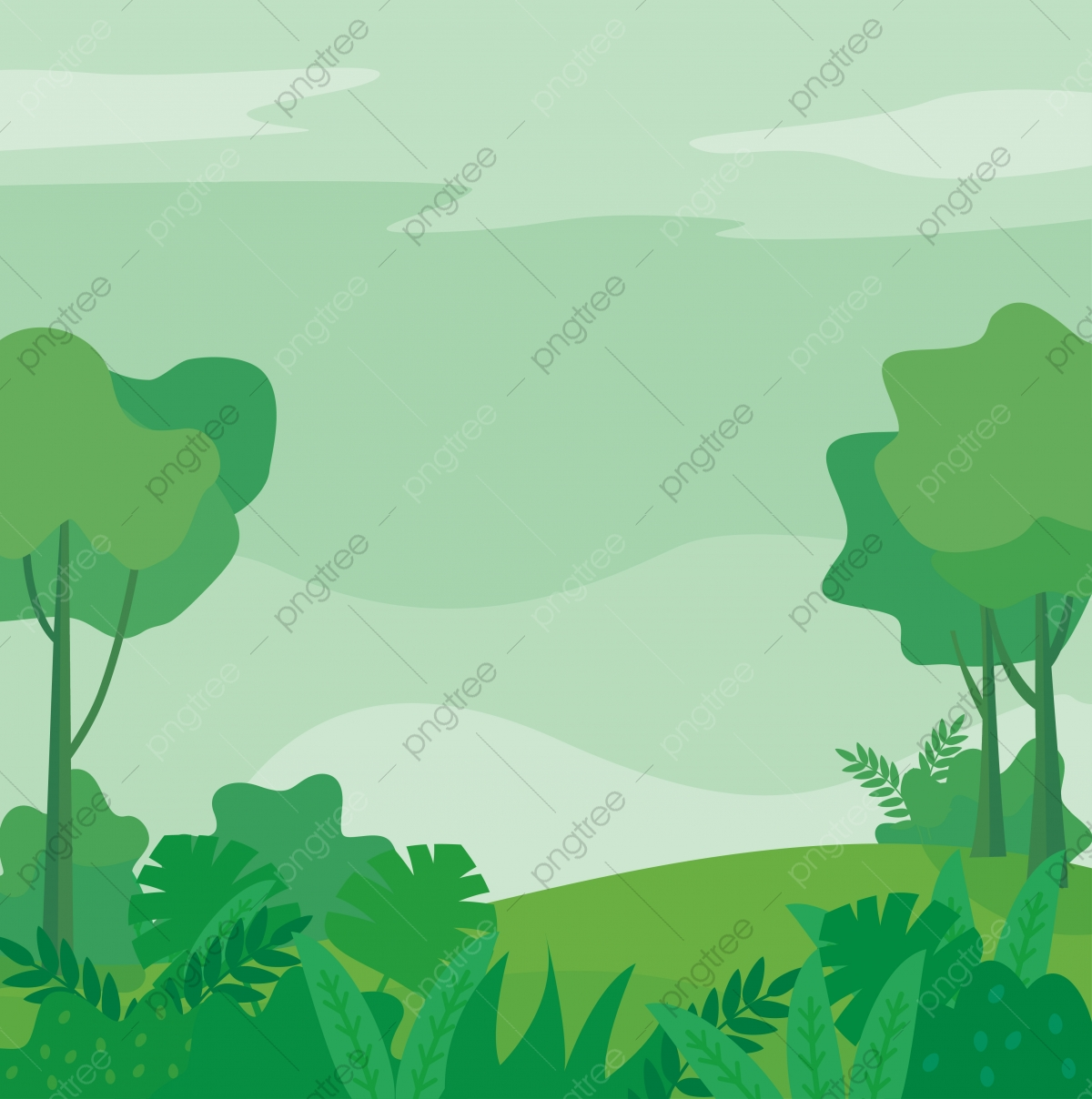 Nature Landscape Vector Illustration With Green Color