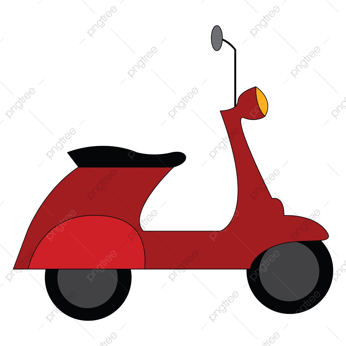 Red Vespa Scooter Vector Illustration On White Background Scooter Clipart Scooter Isolated Png And Vector With Transparent Background For Free Download