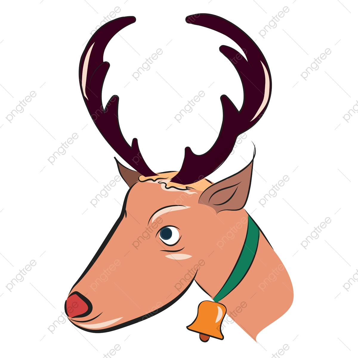 - Reindeer With Golden Bell Vector Or Color Illustration, Christmas