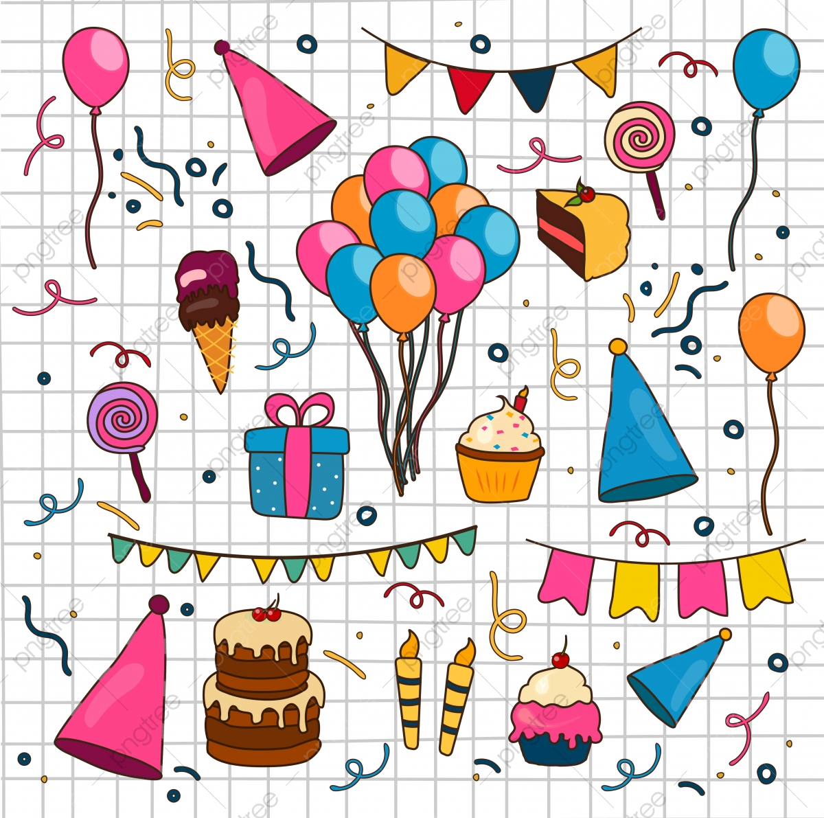 Set Of Hand Drawn Happy Birthday Doodle Birthday Doodle Set Png And Vector With Transparent Background For Free Download