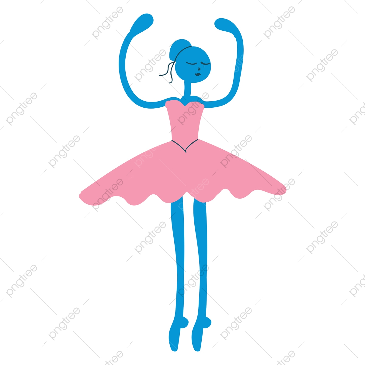 Simple Cartoon Ballerina Vector Illustration On White Background Dancer Female Dance Png And Vector With Transparent Background For Free Download