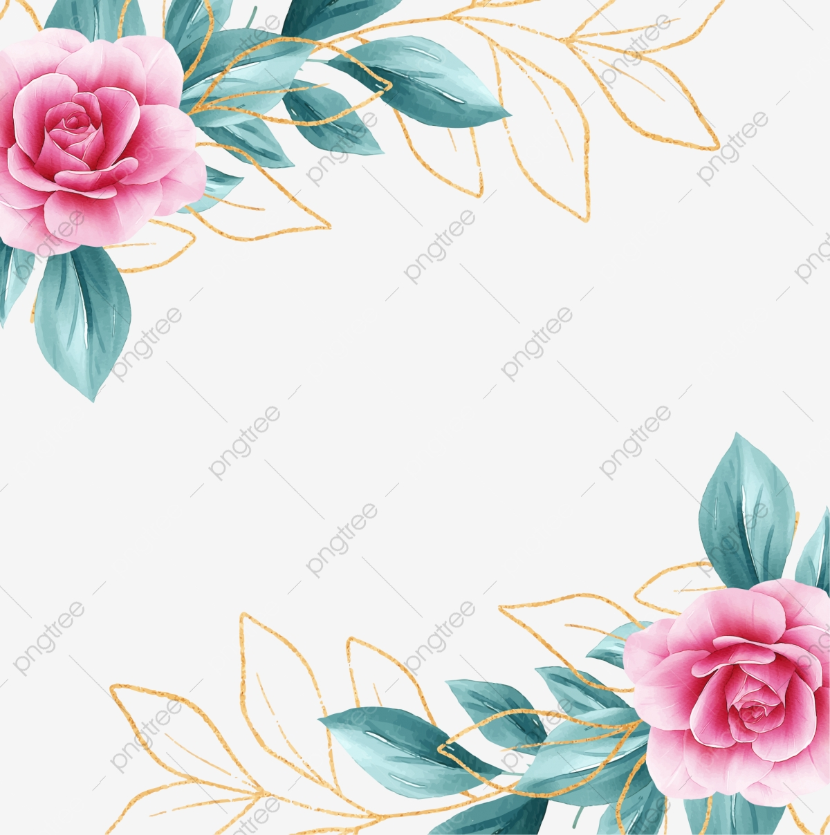 Square Floral Frame With Watercolor Flowers Border And Outlined