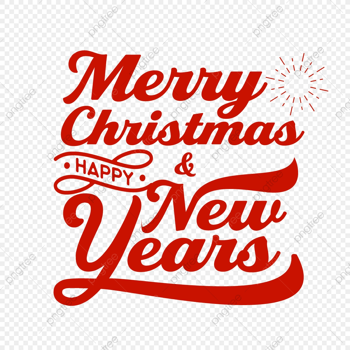 Typography Of Merry Christmas And Happy New Years Greeting Card Typography Png And Vector With Transparent Background For Free Download