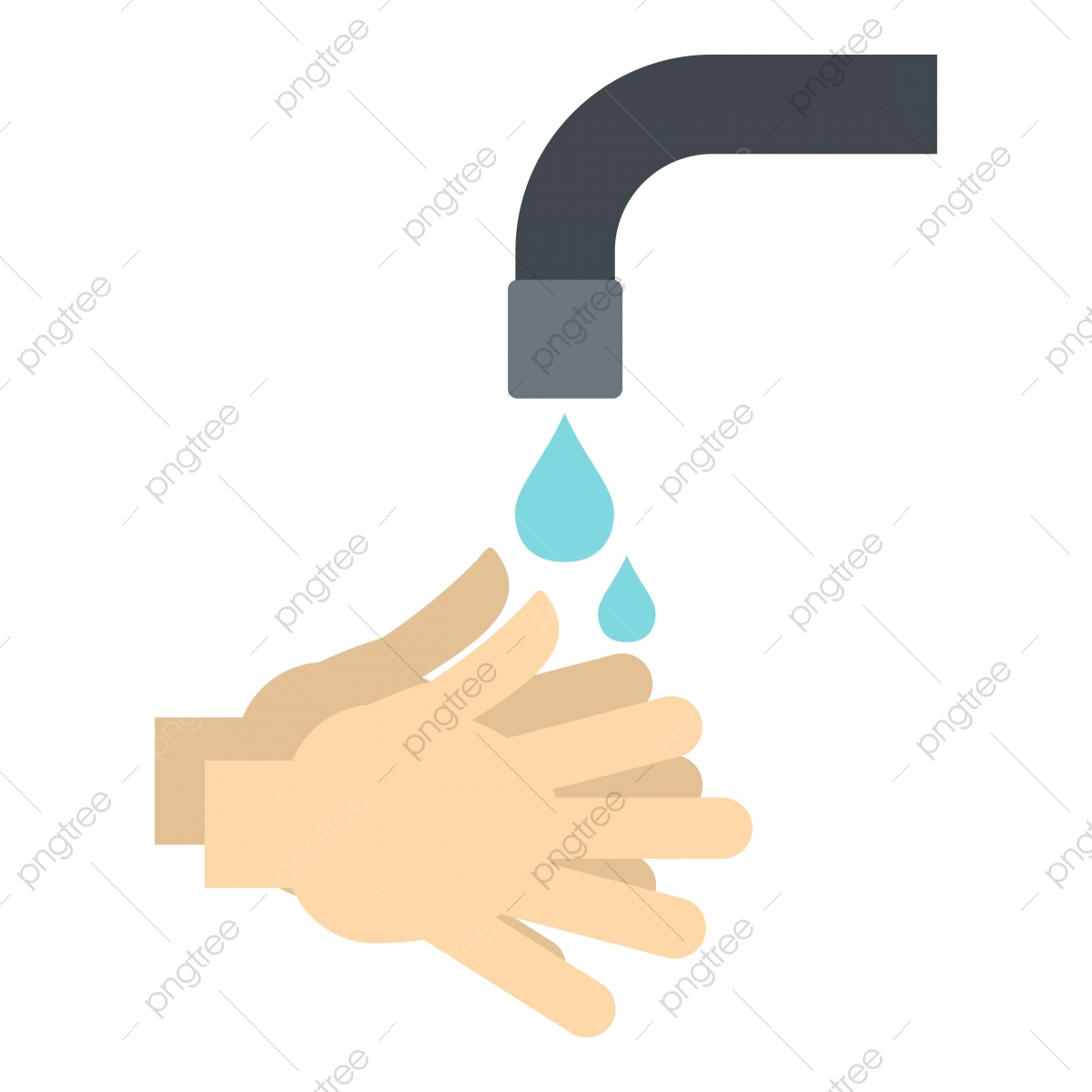 Washing Hands Under Running Water Icon Isolated Isolated Hand