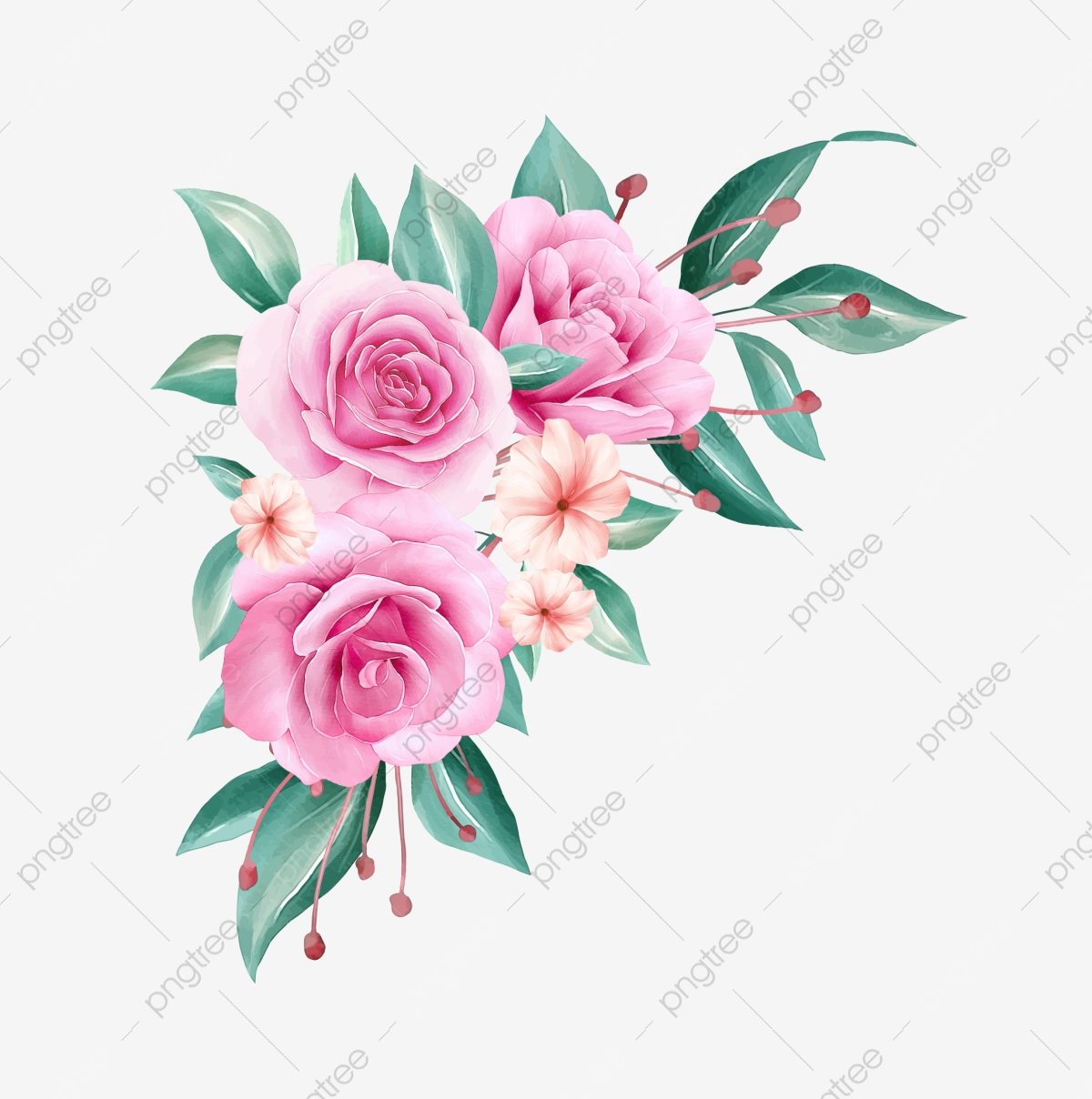 Watercolor Flowers Arrangement Illustration Of Peach Roses And