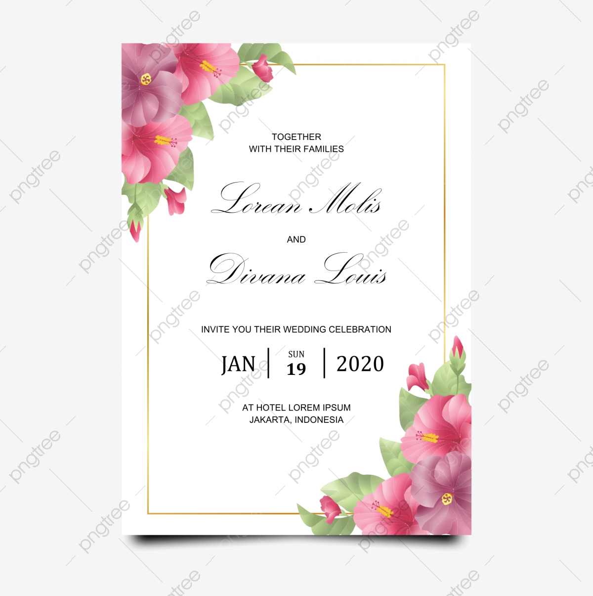 Wedding Invitation Template With Flowers, Wedding, Wedding Card