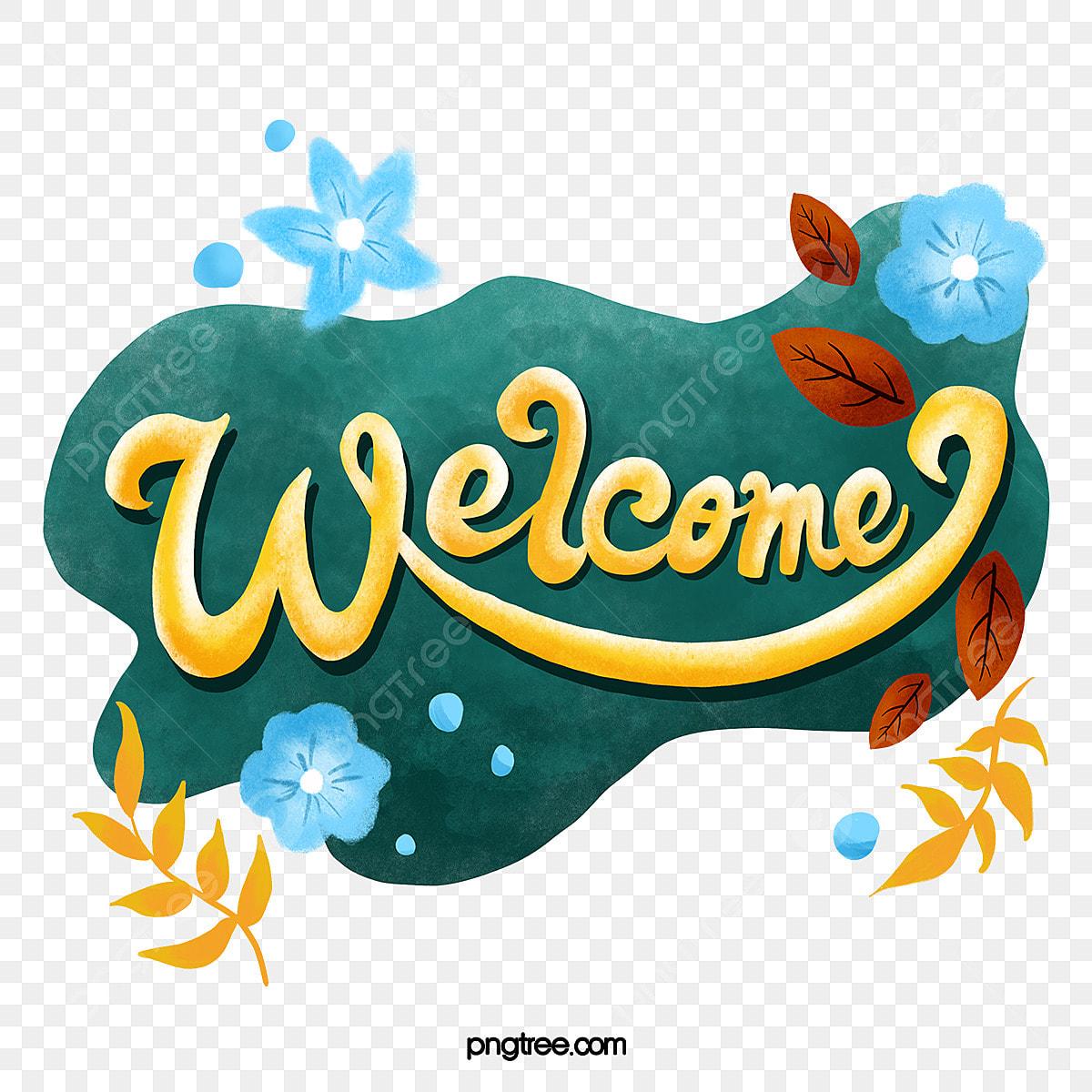Bienvenue Elements Floraux Dessines A La Main Clipart De Bienvenue Bienvenue Peinte A La Main Fichier Png Et Psd Pour Le Telechargement Libre