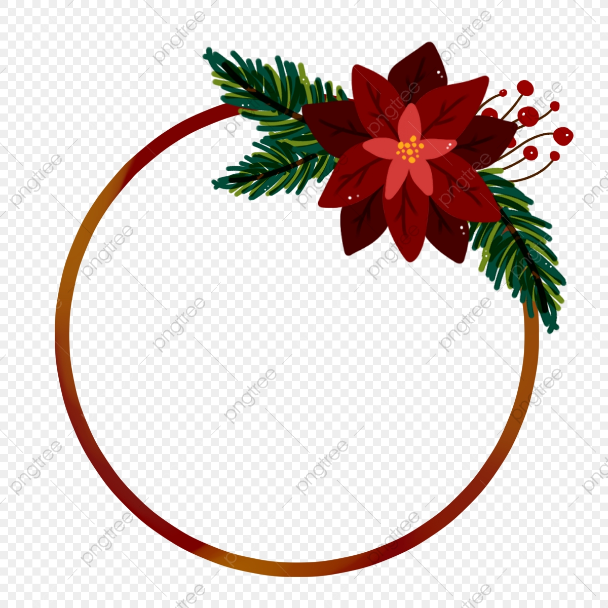 Winter Poinsettia Flower Bouquet With Circle Frame For Christmas Wreath Wreath Poinsettia Poinsettia Flower Png Transparent Clipart Image And Psd File For Free Download